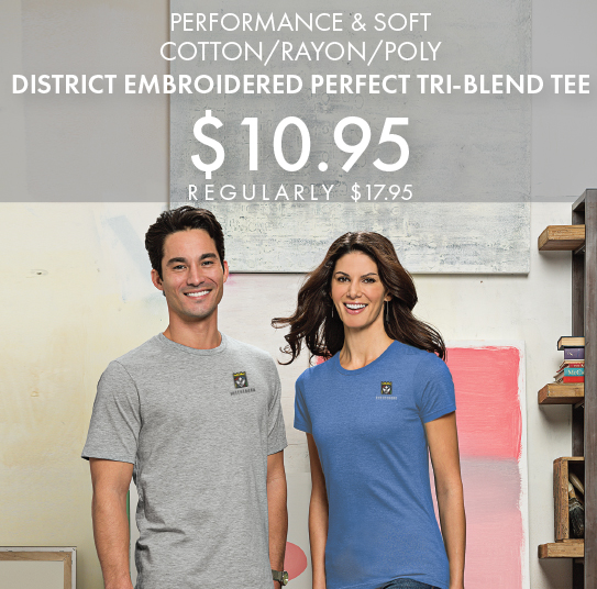 Custom Embroidered District Perfect Tri-Blend Tees