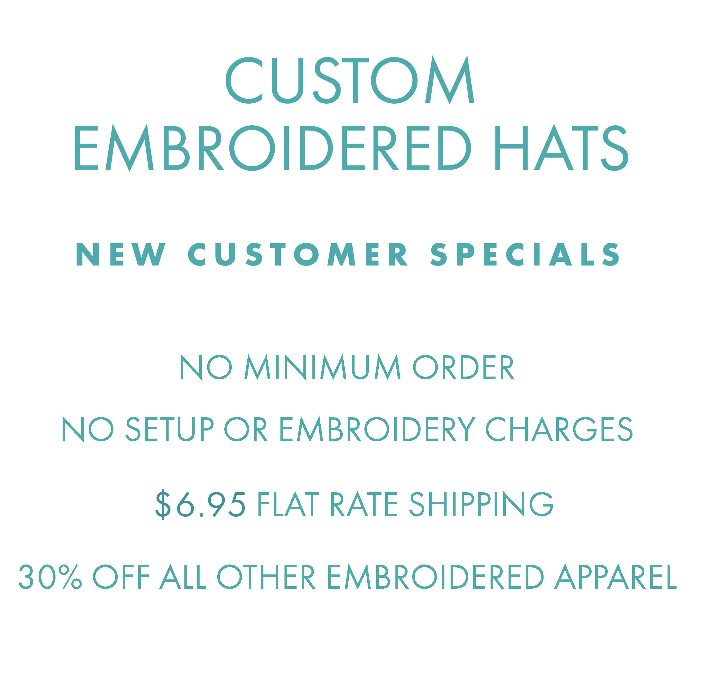 c7013b29 Custom Embroidered Hats, no setup or embroidery charges, shipping just  $6.95 per order